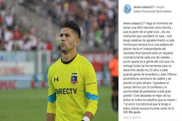 El arquero nacionalAlvaro Salazarse despidió este lunes deColo Coloa través de una carta en redes sociales