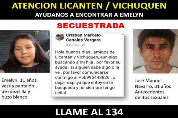 PDI intensifica búsqueda con apoyo aéreo y canino por el secuestro de menor en Licanten