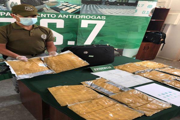 Carabineros encontró maleta con cerca de 5 kilos de clorhidrato de cocaina