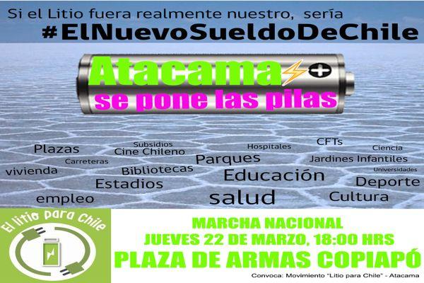 """Movimiento """"Litio para Chile – Atacama"""" llama a marchar este 22 de marzo en Copiapó"""