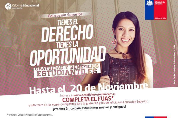 Mineduc extendió plazo de inscripción a gratuidad para la educación superior hasta este jueves 24 de noviembre
