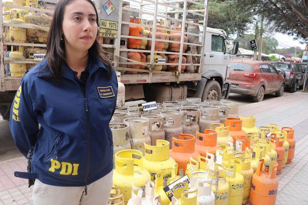 PDI recupera 281 cilindros de gas sustraídos en medio de temporal en Copiapo