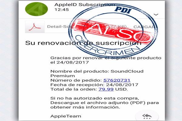 PDI Atacama alerta sobre falso correo de APPLE para cometer fraude
