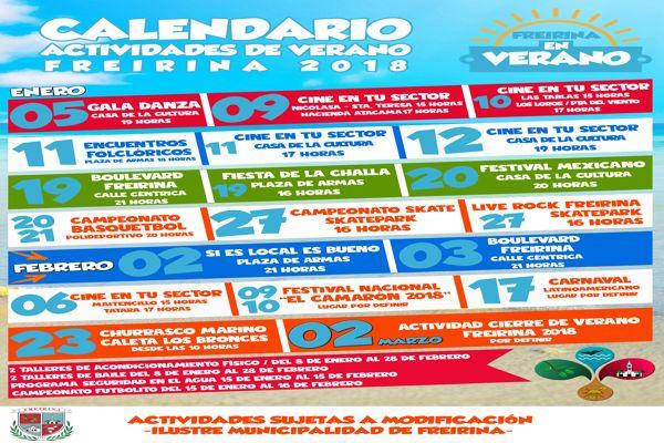 Municipio de Freirina presento calendario de actividades de verano