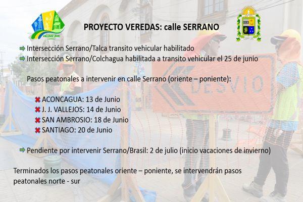 Segunda etapa del Proyecto de Veredas avanza con éxito en centro de Vallenar