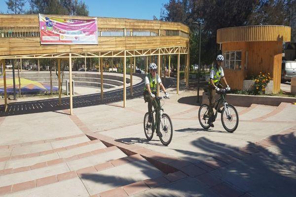 Carabineros implemento en Vallenar servicios preventivos con personal en bicicleta