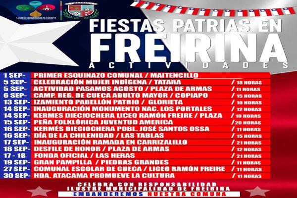 Municipalidad de Freirina presenta calendario de actividades de fiestas patrias