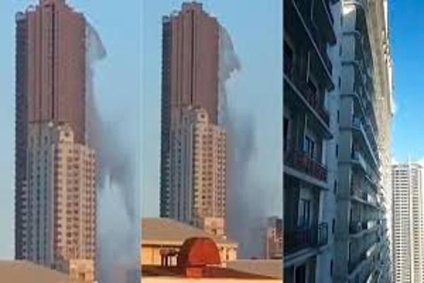 El impactante momento en que la piscina de un rascacielos es destruida por terremoto en Filipinas