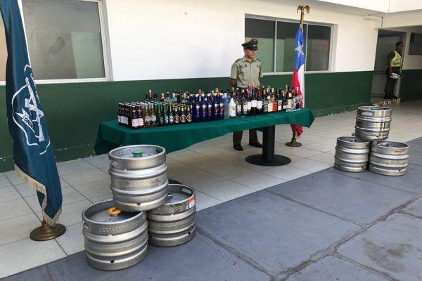 Carabineros decomiso gran cantidad de alcoholes en céntrico local de Copiapo