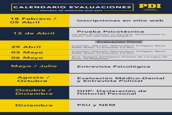 PDI informa proceso de admisión a escuela de investigación policiales