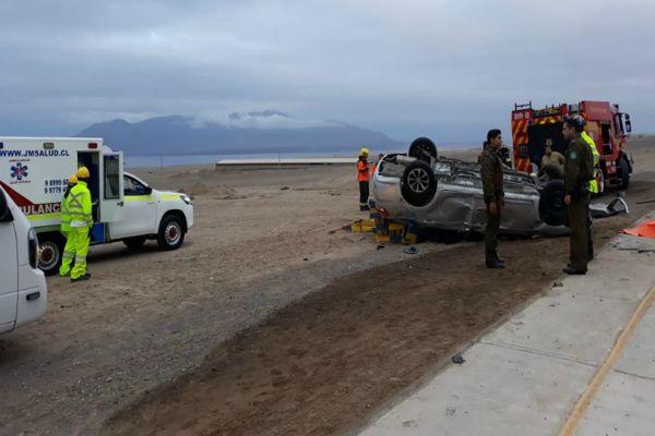 Dos fallecidos y cuatro lesionados dejó accidente en ruta Antofagasta con Mejillones