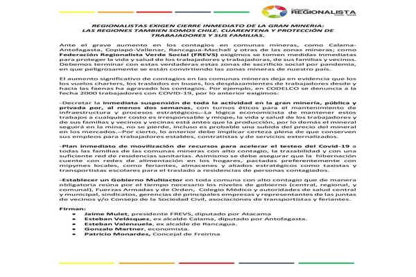 Regionalista exigen cierre inmediato de la gran mineria: Las regiones también somos CHILE cuarentena y protección de trabajadores y sus familias.