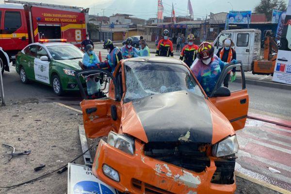 Accidente de tránsito en sector Norte de Antofagasta dejó a una persona lesionada