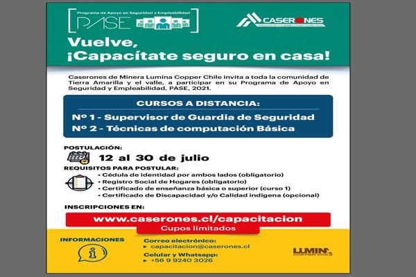 Minera Lumina Copper Chile invita a postular a sus cursos de capacitación 2021